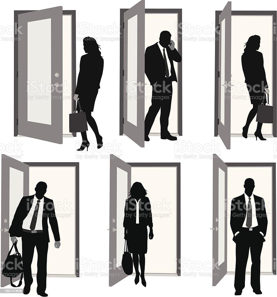 Open Doors Vector Silhouette royalty-free stock vector art