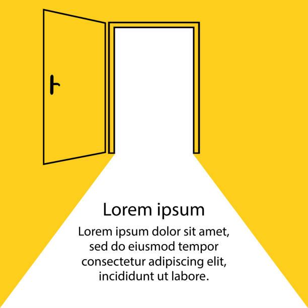 Open door,yellow background,cartoon Open door,yellow background,cartoon stock vector illustration door stock illustrations