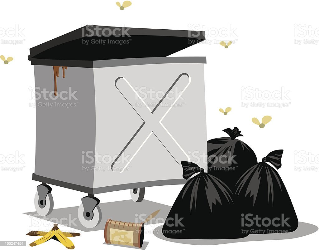 Open dumpster vector art illustration