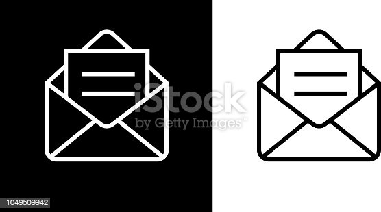 Open Email Envelope Icon. This royalty free vector illustration features the main icon on both white and black backgrounds. The image is black and white and had the background rendered with the main icon. The illustration is simple yet very conceptual.