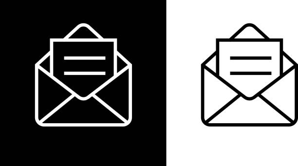 open email envelope icon - email icon stock illustrations, clip art, cartoons, & icons