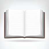 open empty book isolated object