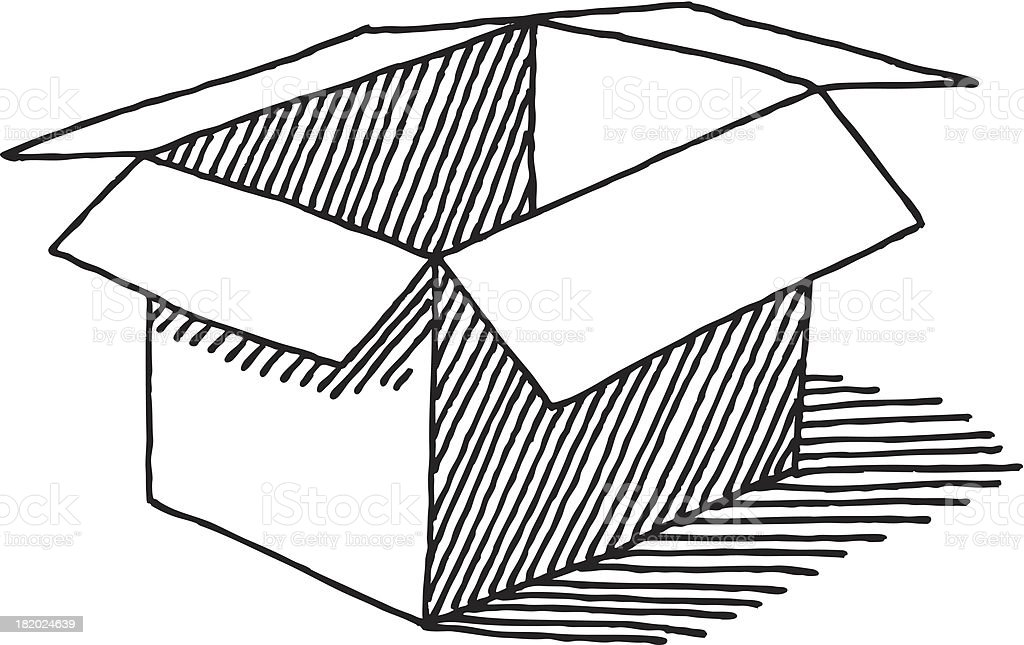 Open Empty Cardboard Box Drawing - Royalty-free Black And White stock vector