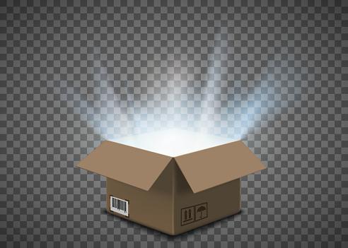 Open empty cardboard box with a glow inside