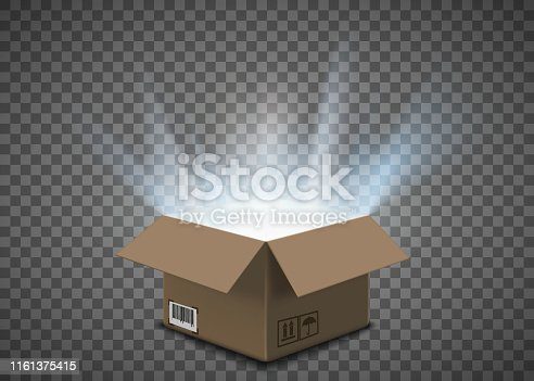 Open cardboard box with a glow inside. Isolated on a transparent background. Vector illustration.