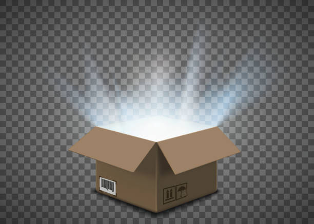 Open empty cardboard box with a glow inside Open cardboard box with a glow inside. Isolated on a transparent background. Vector illustration. cardboard box stock illustrations