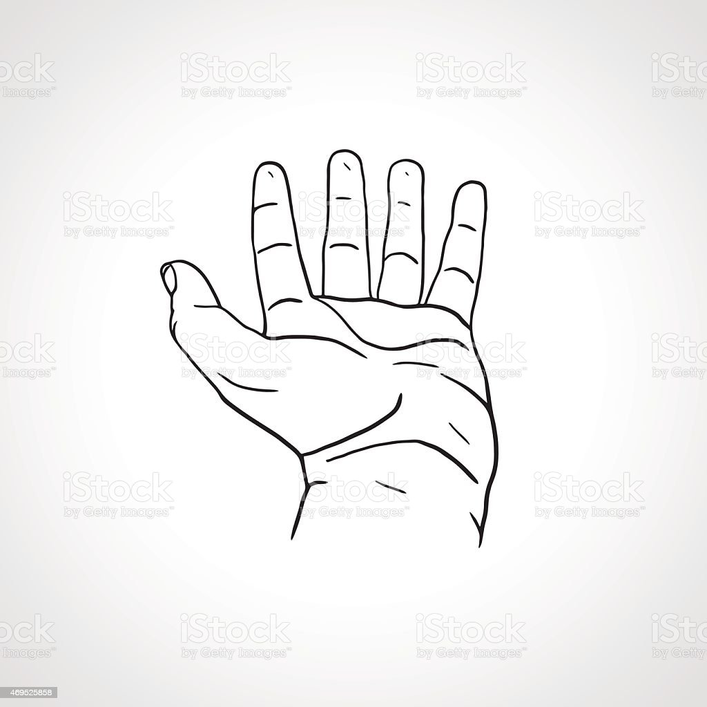 Line Art Hand : Offene leere hand zeichnen linie kunst stock vektor art