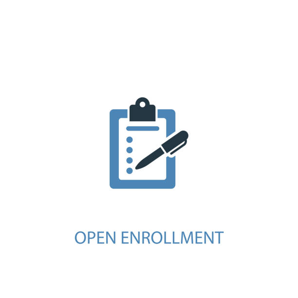 Open Enrollment concept 2 colored icon. Simple blue element illustration. Open Enrollment concept symbol design. Can be used for web and mobile UI/UX Open Enrollment concept 2 colored icon. Simple blue element illustration. Open Enrollment concept symbol design. Can be used for web and mobile UI/UX enrollment stock illustrations