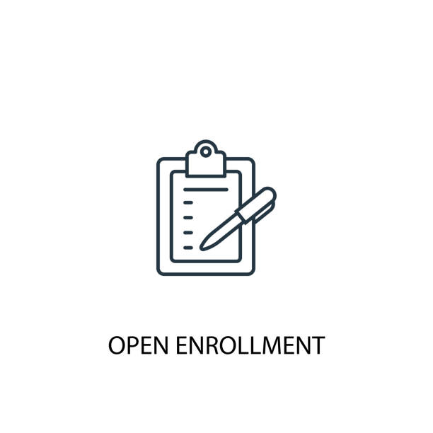 Open Enrollment concept line icon. Simple element illustration. Open Enrollment concept outline symbol design. Can be used for web and mobile UI/UX Open Enrollment concept line icon. Simple element illustration. Open Enrollment concept outline symbol design. Can be used for web and mobile UI/UX register stock illustrations