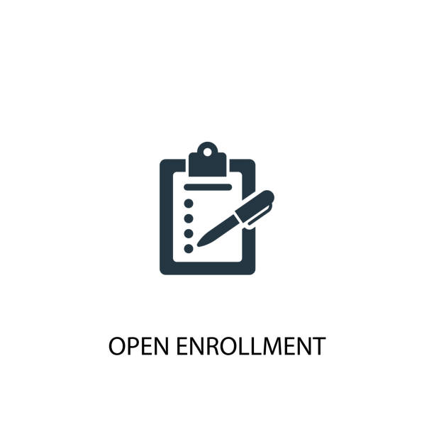 Open Enrollment icon. Simple element illustration. Open Enrollment concept symbol design. Can be used for web and mobile. Open Enrollment icon. Simple element illustration. Open Enrollment concept symbol design. Can be used for web and mobile. enrollment stock illustrations