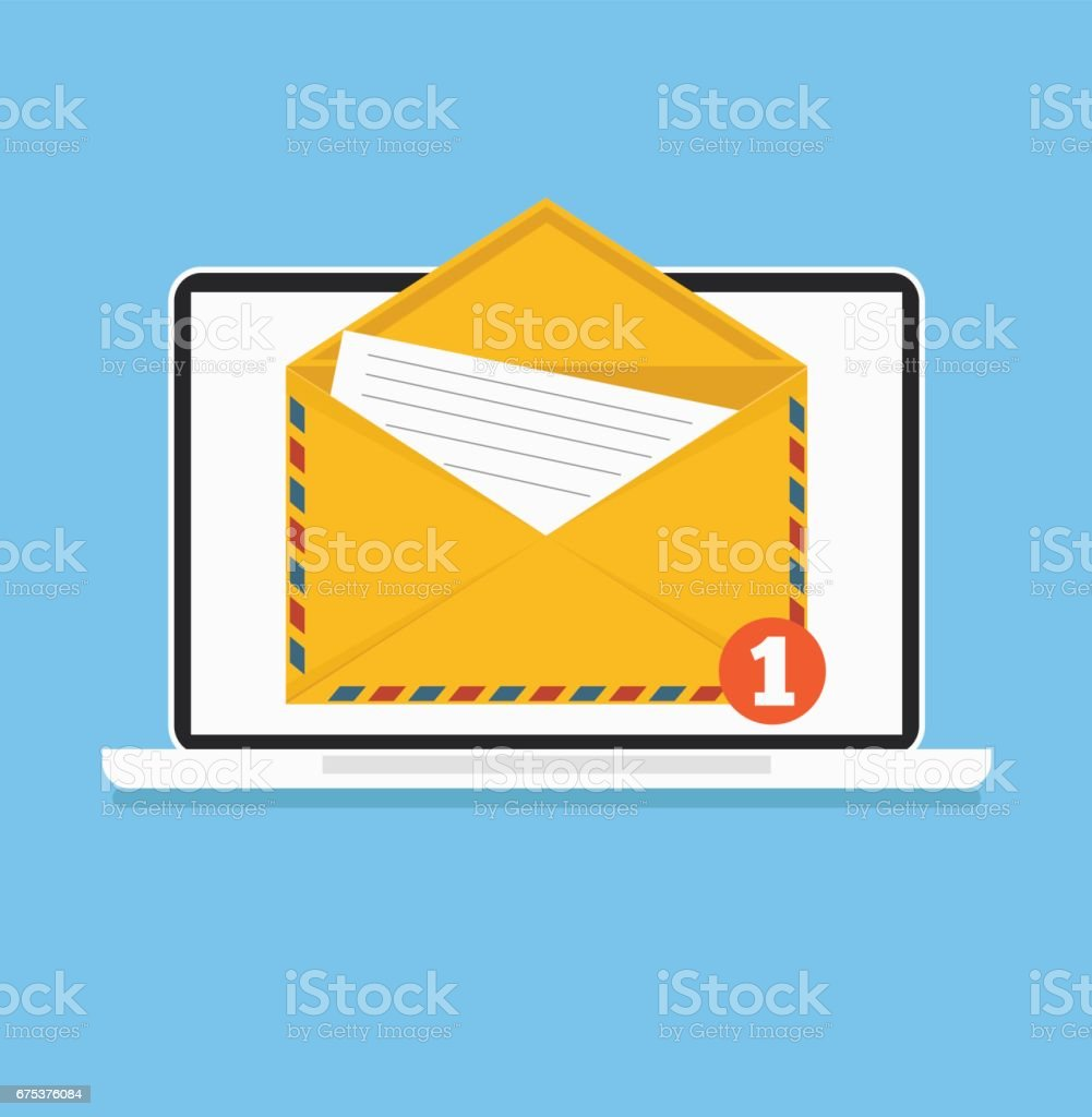 Open envelop with document on screen email vector art illustration