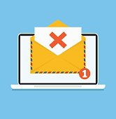 Open envelop with failure red X email
