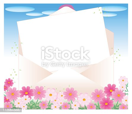 istock Open envelope and letter paper  - Cosmos flower garden 1125845882