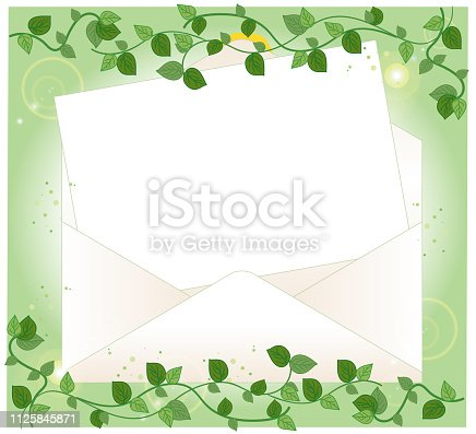 istock Open envelope and letter paper  - Ivy Frame 1125845871