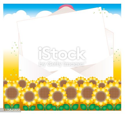 istock Open envelope and letter paper - Sunflower field 1125845855