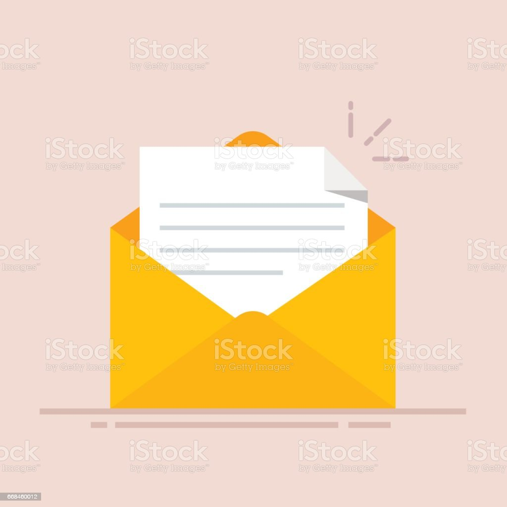 Open envelope with a document. New letter. Sending correspondence. Flat illustration isolated on color background. vector art illustration