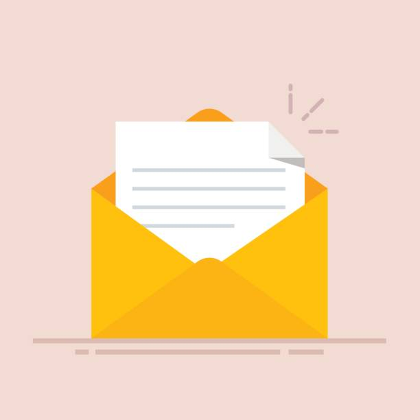 Open envelope with a document. New letter. Sending correspondence. Flat illustration isolated on color background. Open envelope with a document. New letter. Sending correspondence. Flat illustration isolated on color background opening stock illustrations