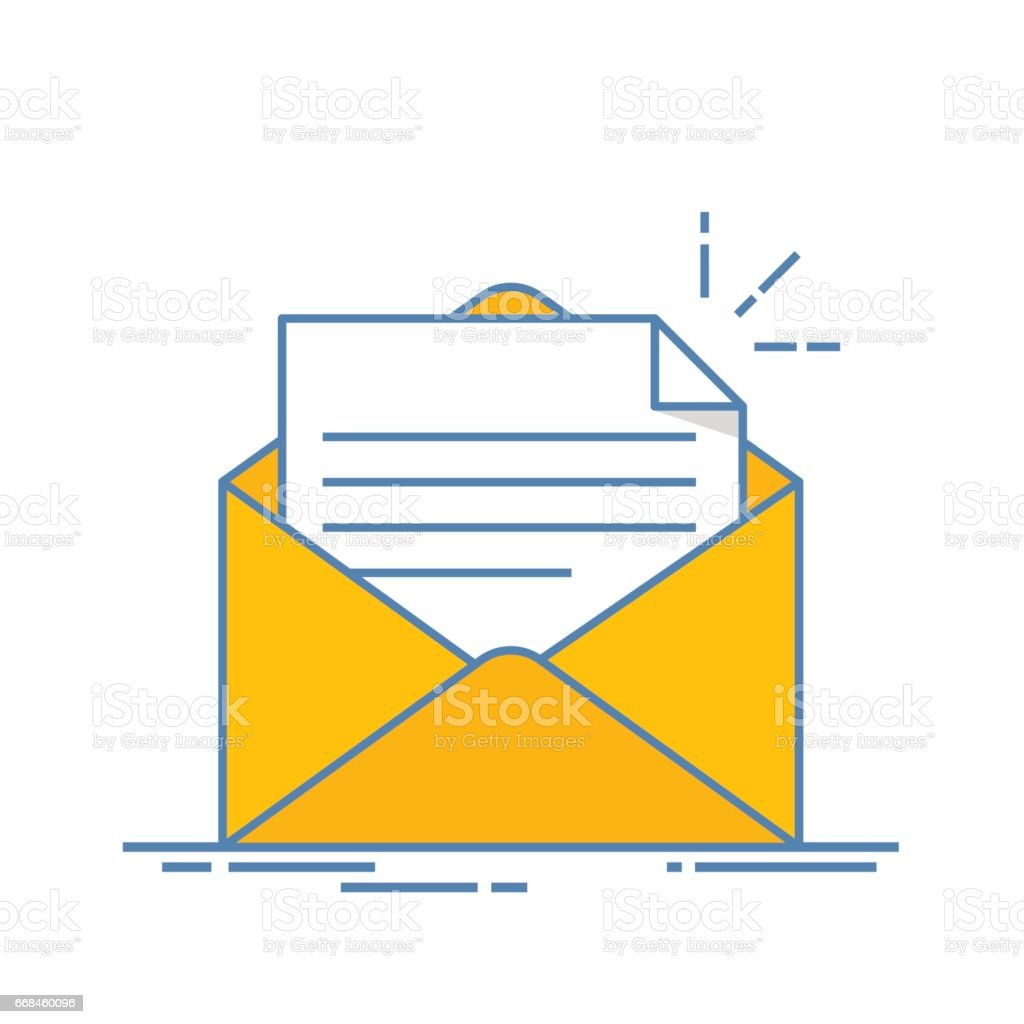 open envelope with a document new letter sending correspondence flat line illustration isolated