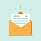 istock Open envelope with a document. New letter. Sending correspondence. 864307286