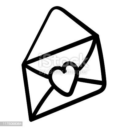 istock Open envelope with a heart. Icon festive. Coloring page adult and kids. Symbol of love. Vector illustration 1175068364