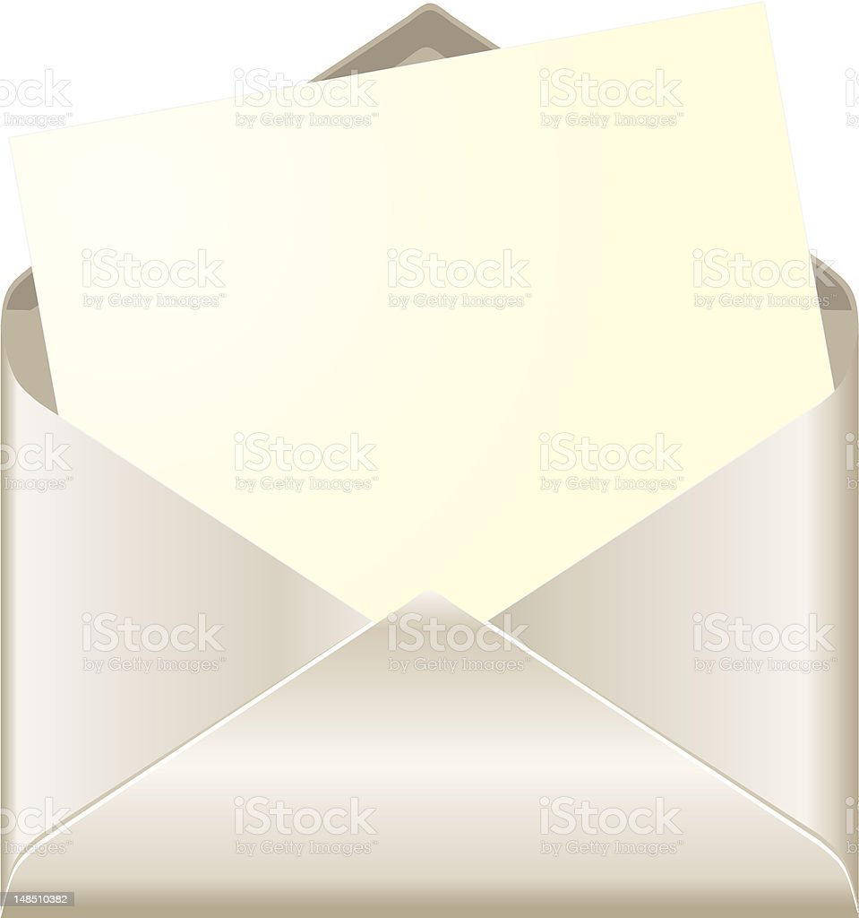 Open envelope with card royalty-free stock vector art