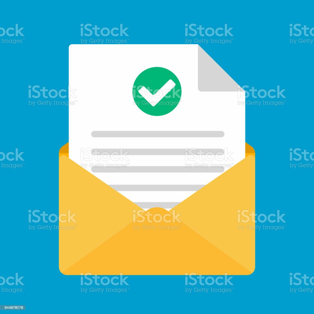 Open Envelope With Document Paper Sheet Page Check Mark Tick Text
