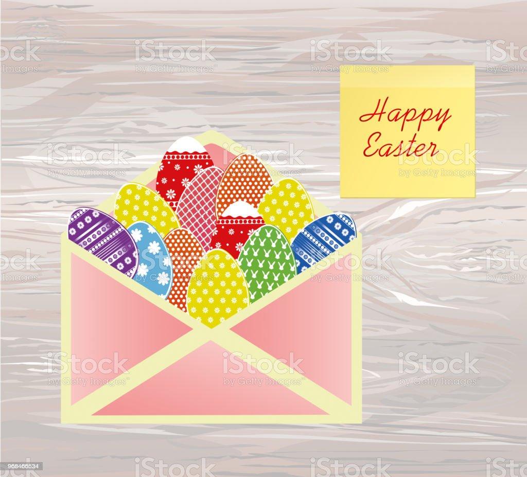 Unverschlossenen Umschlag Mit Ostern Bunte Eier Mit Einem Muster ...