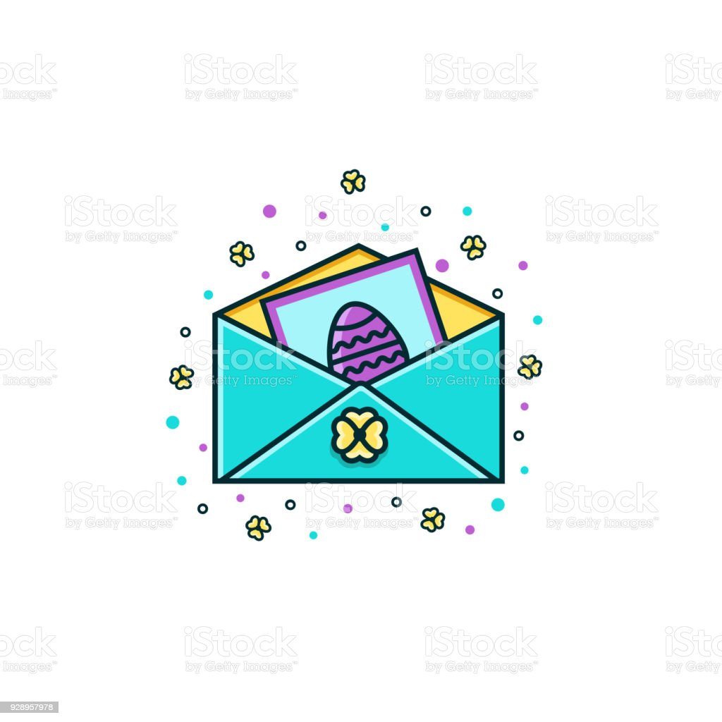 Open Envelope With Invitation Card Decorated With Easter Egg Color ...