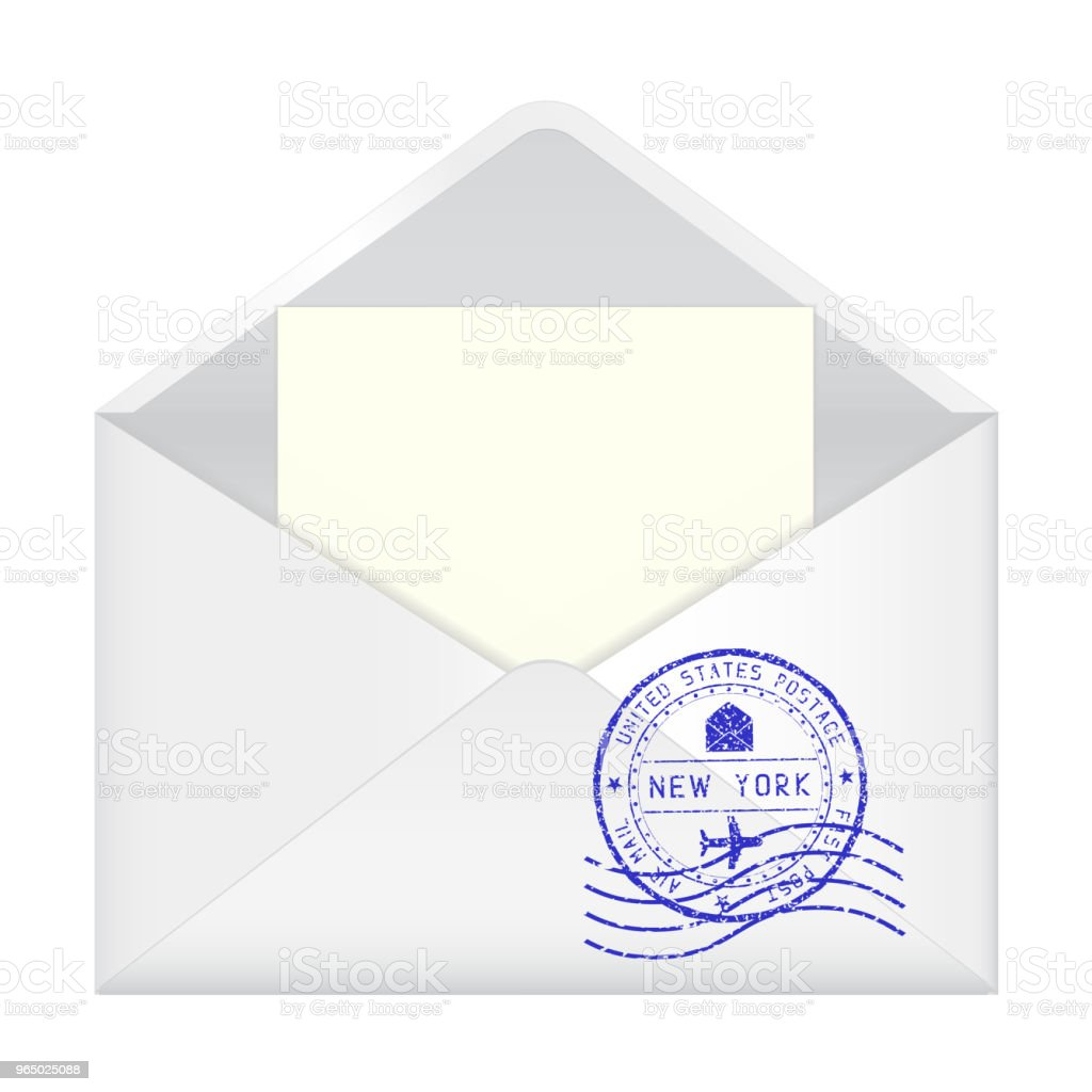 open envelope with new york stamp and letter inside royalty free open envelope with new