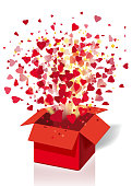 Open explosion red gift box fly hearts and confetti Happy Valentine s day