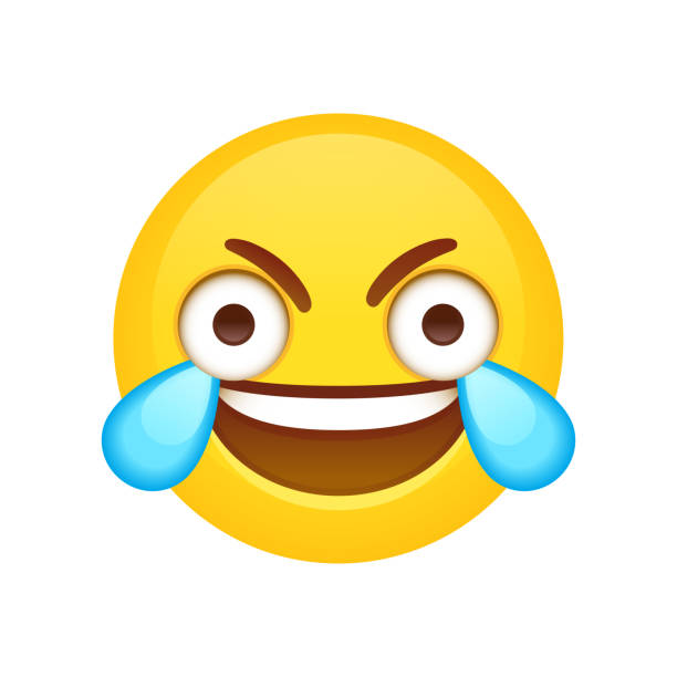 open eye crying laughing emoji - tears of joy emoji stock illustrations