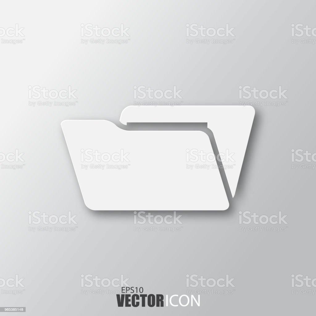 Open folder icon in white style with shadow isolated on grey background. open folder icon in white style with shadow isolated on grey background - stockowe grafiki wektorowe i więcej obrazów abstrakcja royalty-free