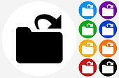 Open Folder Icon on Flat Color Circle Buttons