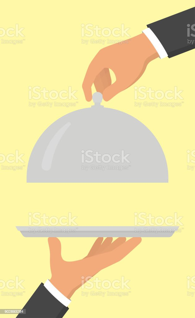 Open food serving tray in hand. Vector illustration in flat style