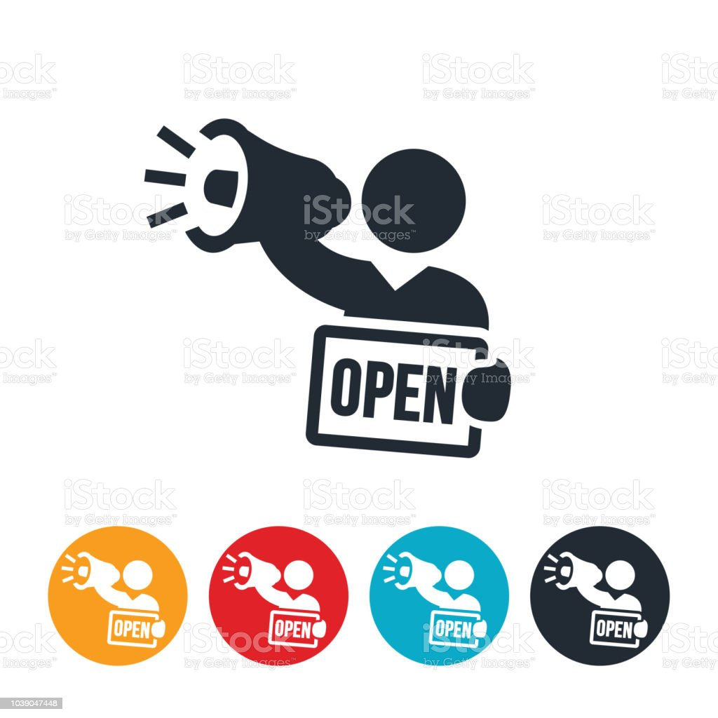 Open For Business Icon vector art illustration