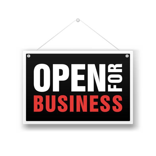 ilustrações de stock, clip art, desenhos animados e ícones de open for business sign. financial marketing banking advertisement stock fund commercial background vector illustration - important