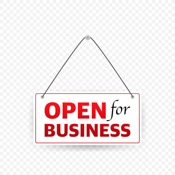 Open for business sign. Flat design for business financial marketing banking. Open for business sign. Flat design for business financial marketing banking open sign stock illustrations