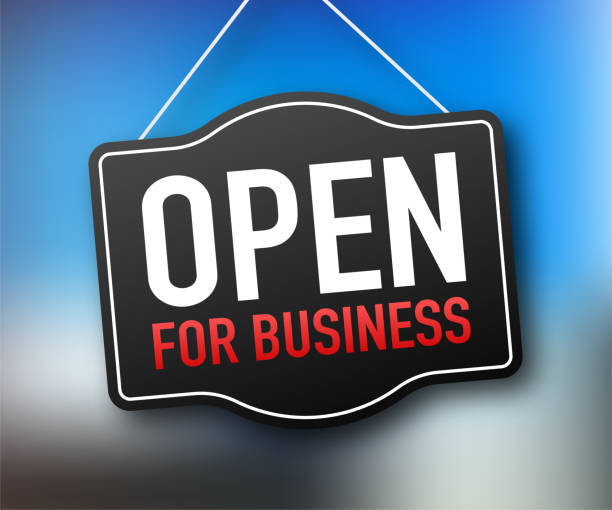 Open for business sign. Flat design for business financial marketing banking advertisement office people life property stock fund commercial background in minimal concept cartoon illustration Open for business sign. Flat design for business financial marketing banking advertisement office people life property stock fund commercial background in minimal concept cartoon illustration. opening stock illustrations