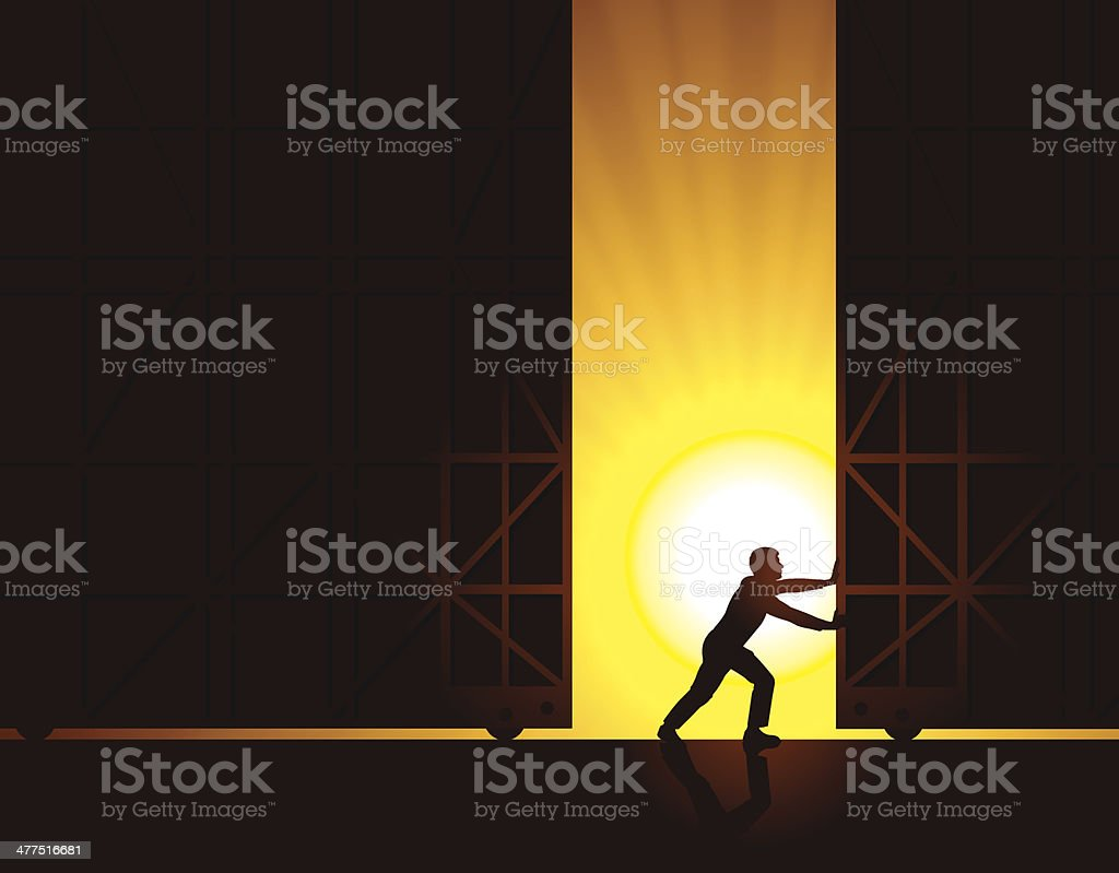Ouvert pour les voyageurs d'affaires, le Warehouse portes au lever du soleil en arrière-plan - Illustration vectorielle