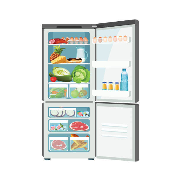 Open fridge with products isolated on white color banner Fridge food container with eggs meat milk fruits vegetables frozen fish and cheese, isolated vector modern ice-box, comfortable products storage icon refrigerator stock illustrations