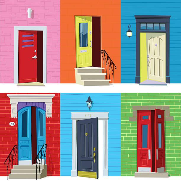 Open Front Doors Six colorful open front doors. Global colors. front door stock illustrations
