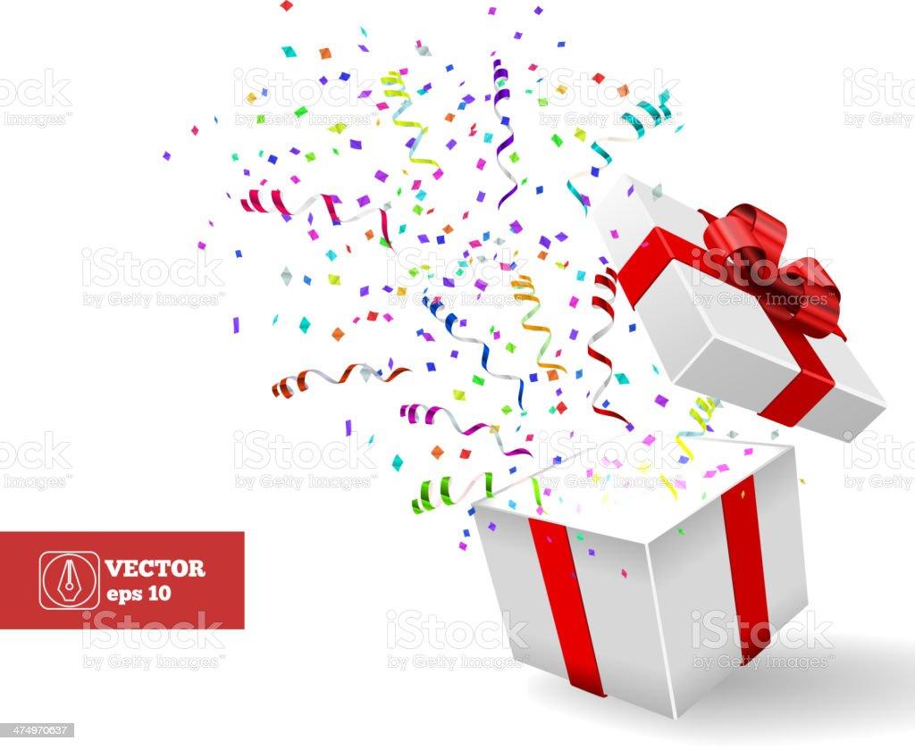 Open Gift and Confetti. Christmas Vector vector art illustration