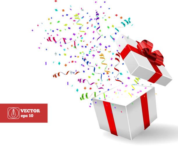 offene geschenk und konfetti.  weihnachten vektor - - geburtstagsgeschenk stock-grafiken, -clipart, -cartoons und -symbole