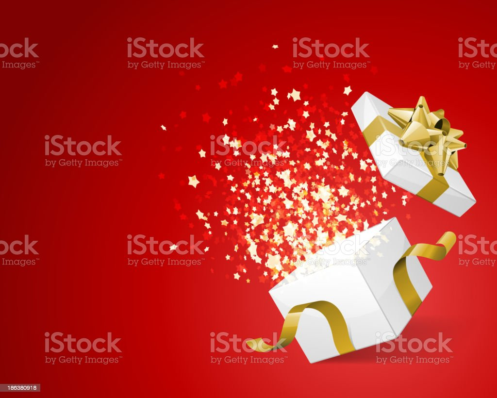 Open gift and light fireworks christmas royalty-free stock vector art