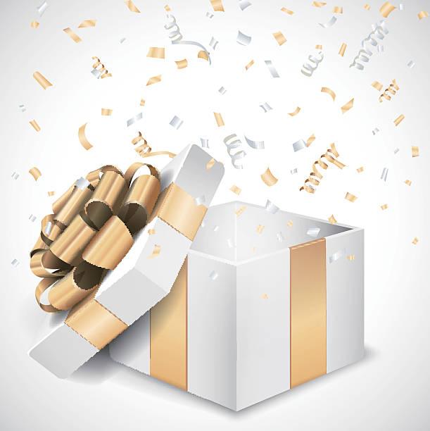 offene geschenkbox und konfetti - geburtstagsgeschenk stock-grafiken, -clipart, -cartoons und -symbole