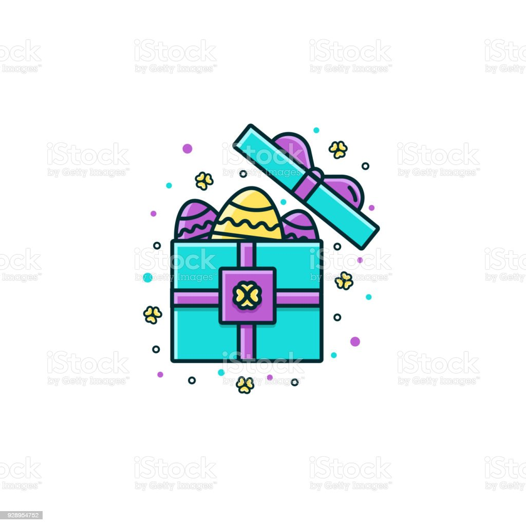 Open gift box full of easter eggs flat color line icon spring open gift box full of easter eggs flat color line icon spring christian holiday negle Image collections