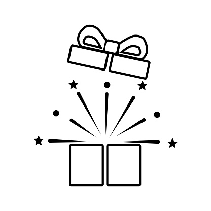 Open gift box icon. Festive package. wrapping with bow. vector illustration