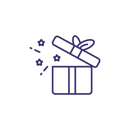 Open gift box line icon