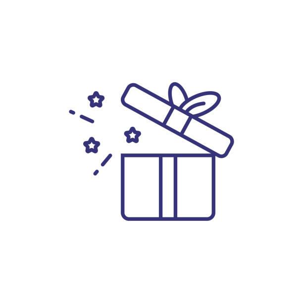 ilustraciones, imágenes clip art, dibujos animados e iconos de stock de icono de línea de caja de regalo abierta - gifts
