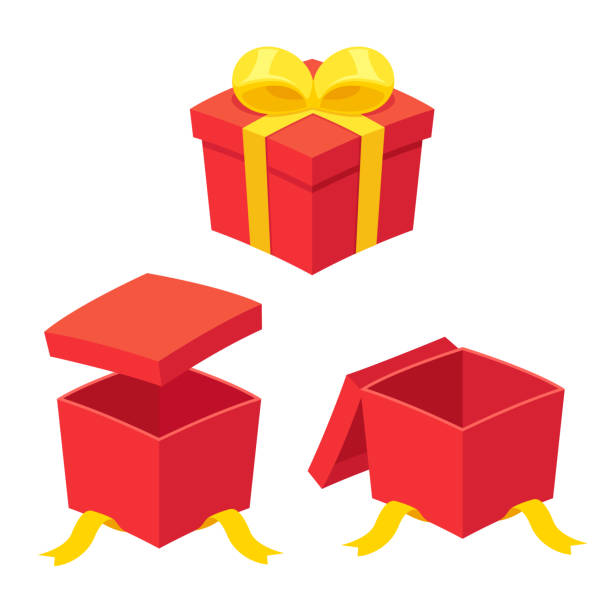 Open gift box set Christmas present boxes set, opening and opened. Red gift box with yellow ribbon bow. Isolated vector illustration gifts stock illustrations